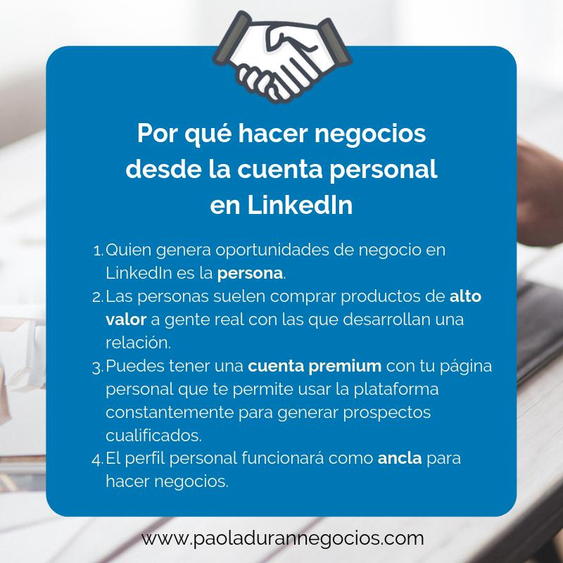 Por qué hacer negocios desde la cuenta personal en LinkedIn