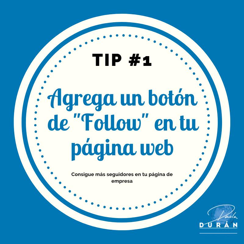 Botón follow en tu página web, tips empresa LinkedIn